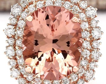 11.24ctw Natural Morganite and Diamond 14kt Rose Gold Ring Size 7