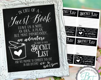 BUCKET LIST in Lieu of a Guest Book and Cards Chalkboard DIGITAL Print (No physical item sent)