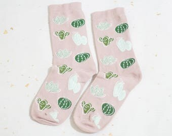 Cacti and Succulents Socks // Cotton Socks - Cactus Socks - Succulents Socks - Middle Socks - By Justine Gilbuena