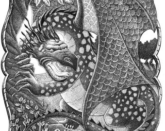 Dragon Original Pen & Ink Drawing