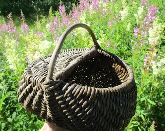 Antique Basket, Wicker Willow Basket, Woven Basket with Handle, Harvest Basket, Wood Berry Basket, Farmhouse Decor