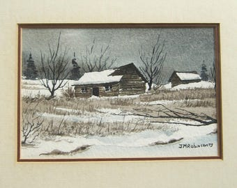 Old Country Farmhouse - Watercolor Landscape Painting - Vintage Framed Art - JM Robinson Signed Original Canadian Art - Winter Barn Painting