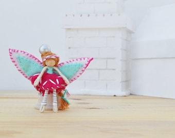 Easter Fairy Doll - spring fairy doll, miniature fairy doll, miniature fairies, felt fairy doll, felt fairies, mini fairy doll, OOAK doll