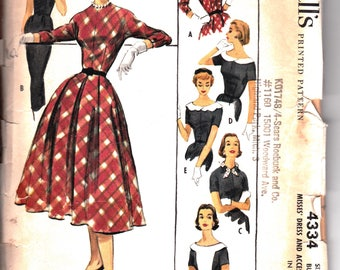 Vintage McCall's Pattern 4334 Misses Size 12 Dress and Accessories