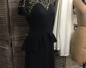 HOLLYWOOD Glamour Original EVELYN ALDEN 1940s WW2-era Black Rayon Peplum Dress with Sequin Trim