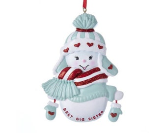 FREE SHIPPING Best Big Sister Personalized Christmas Ornament / Sister Ornament / Snowman / New Baby / Hand Personalized