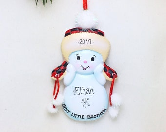 Best Little BrotherPersonalized Christmas Ornament / Brother Ornament / Snowman / New Baby / Hand Personalized