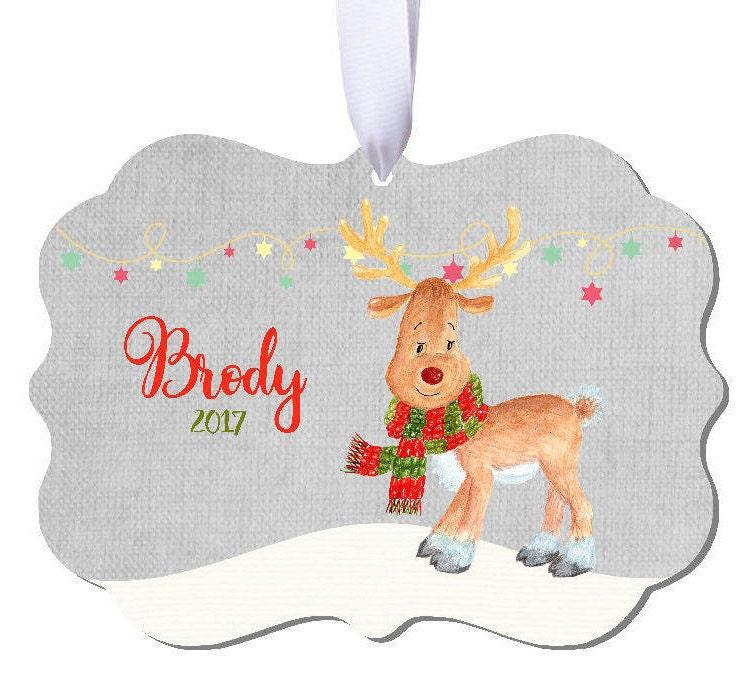 Baptism Ornament Christmas Ornament By Ryellecreations On Etsy: Christmas Ornament Watercolor Deer Deer Ornament Boys