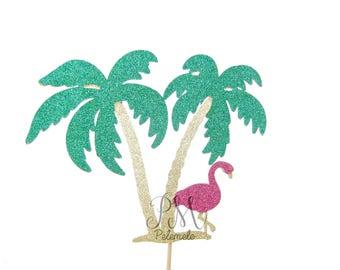 Tropical Glitter Flamingo & Palm Tree Cake Topper - Palm Birthday Cake Topper, Tropical Cake Topper, Tropical Wedding, Palm Tree Cake Topper
