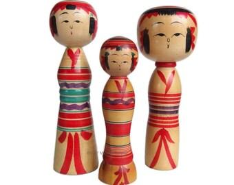 Kokeshi Family! Vintage Japanese Kokeshi Dolls. Dento Kokeshi. Yajiro Kokeshi. Vintage Kokeshi. Traditional. Japanese Doll. Vintage.