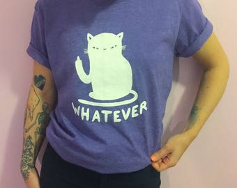 Whatever cat t-shirt - Cattitude t-shirt - black or white - Lovestruck prints <3