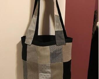 Black/Gray Patchwork Handbag