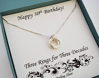 30th Birthday for Her, Sterling Silver Necklace, 30th Birthday, Milestone Jewelry, Best Friend 30th Birthday Gift, MarciaHDesigns, MHD
