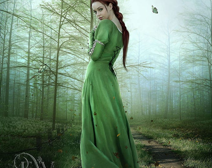 beatiful red haired fantasy woman art print