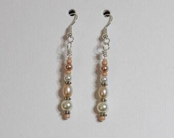 Custom Peach and Cream Pearl Dangle Earrings for Trish K