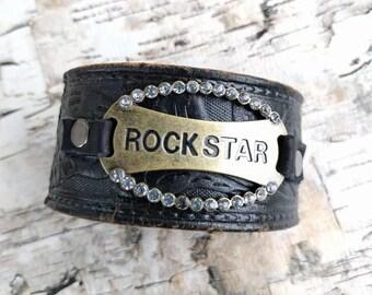 Rock Star, Leather Cuff Bracelet, Upcycled Belt, Repurposed, Distressed Black Leather, Tooled Leather, Rhinestones, LookSomethingShiny