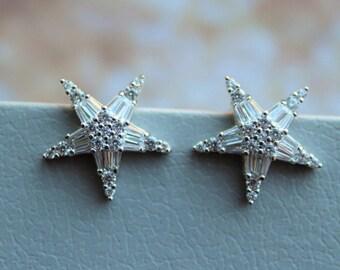 Star  Earrings, Bridal Earrings, Crystal Bridal Earrings,Crystal Bridal Jewelry, Crystal Star Earrings, Wedding Jewelry