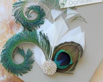 Light Ivory Peacock  Feather  Hair Clip,  Peacock  hair clip, Prom Headpiece, Wedding  hair piece,  Feather Fascinator ,  Wedding Headpiece