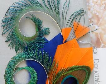 Orange Blue  Peacock  Feather  Hair Clip,Feather Fascinator,  Peacock  hair clip, Prom Headpiece, Wedding  hair piece ,  Wedding Headpiece