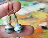 Monet Art Calendar Paper Bead Earrings Color Stacks
