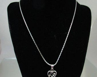 Sterling Silver Heart with Marcasites Necklace Heart Necklace Marcasite Necklace*