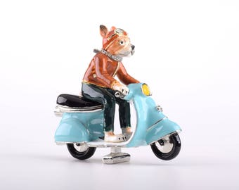 Dog on Vespa Decorated with Swarovski Crystals Trinket Box by Keren Kopal Faberge Style Home Decor Unique Gift