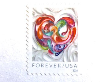 10 Heart Forever Postage Stamps // Quilled Paper Heart // Unused Love Stamps For Mailing Wedding Invitations and Valentines