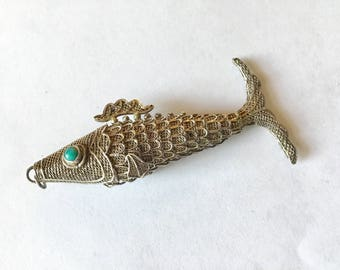 Vintage Fish Necklace / Articulated Fish Necklace / Sterling Fish Necklace