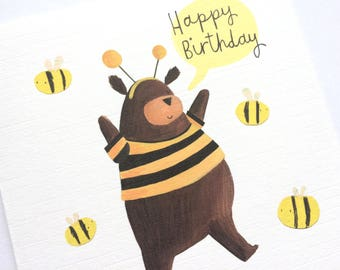 Bear and the Bees Birthday Card - Bear Greetings Card - Cute Birthday Card - Birthday Card For Bear Lover