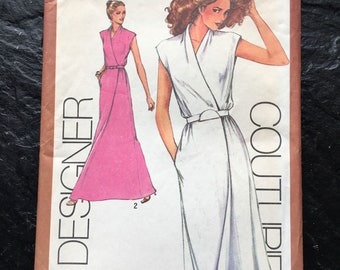 Vintage 1980 Designer Couturier Mock-Wrap Dress Pattern by Cathy Hardwick // Simplicity 9518 > size 6 & 8