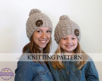 KNITTING PATTERN Mommy and Me Textured Beanies, Toddler Hat Pattern,  Kids Hat Pattern, Chunky Knit Hat, 3 SIZES (Toddler/Child/Adult)