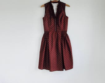1970s Brown novelty print dirndl folklore boho dress.// Fits a size S-M