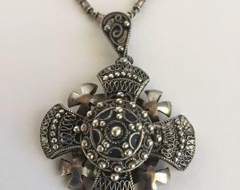 Vintage Ornate Silver Cross Pendant Necklace