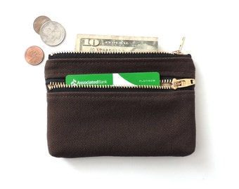 Double Zipper Wallet Coin Purse Pouch Canvas Brown