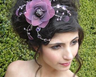 Purple Flower Fascinator, Wedding headdress, mauve flower, vintage flower, Wedding tiara