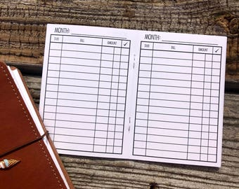 Traveler's Notebook A6 Size Bill Pay Checklist