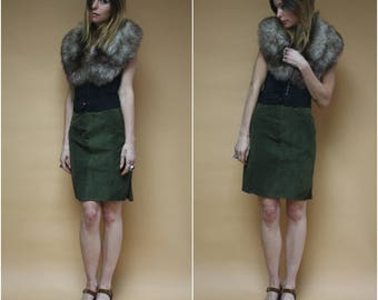 Vintage High Waist Suede Mini Skirt Leather Olive Army Green Pencil Skirt