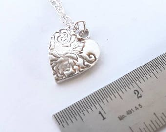 Silver heart pendant // rose print heart necklace //solid silver