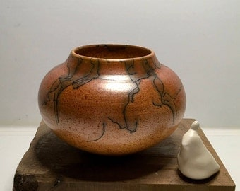 Raku/Horsehair Raku/Burnt Orange/Handmade/Bowl/Vessel