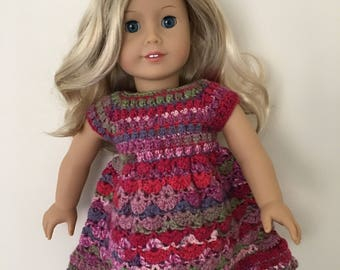 Pink multicoloured doll dress. 18 inch doll dress. Hand crocheted dress for doll such as American Girl. Doll outfit. Dolls clothes.