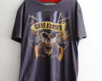Unique Guns'n'Roses T-shirt, Guns'n'roses skull in hat T-shirt, Colourful print, Axl Rose T-shirt, Slash T-shirt