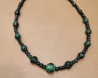 "Malachite Necklace.   20"" long with Sterling Silver clasp.  FREE U.S. SHIPPING"