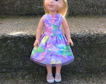 "Doll dress.14.5"" doll outfit. American girl Wellie wisher doll. Butterfly dress. Christmas gift."