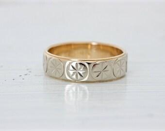Vintage Starburst Eternity Band | Mid Century Wedding Ring | Mens Wedding Band Unisex | 14k White Gold | Wide Gold Stacking Ring | Size 6