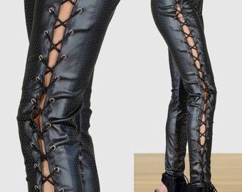 Faux Textured Leather Goth/Punk/Rocker Lace Up Corset Leggings
