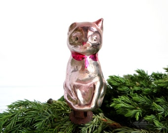 RARE Cat Murenka Christmas ornament 1950s Christmas decoration Cat ornament Antique ornament Glass Christmas decor Soviet Russian New Year