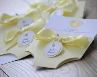Yellow Baby Shower Nappy/Diaper Invitation