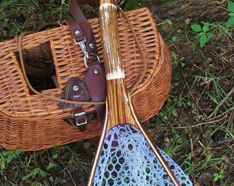 Elk Antler/Zebra Wood Handle 3-Ply Walnut/Ash handcrafted fly fishing net with safety tether & rubber netting