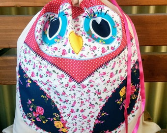 Library Book Bag - Patchwork Owls
