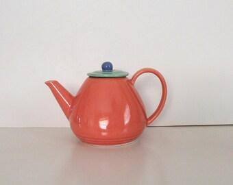 Vintage Tea Pot Colorways by Lindt-Stymeist Teapot, Salmon tea pot with green lid